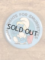 "Smurf ""Equal Rights For Smurfettes"" Pinbacks スマーフェット ビンテージ 缶バッジ スマーフ 80年代"