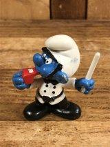 """Schleich Smurf """"Police Man"""" PVC Figure スマーフ ビンテージ PVCフィギュア 80年代"""