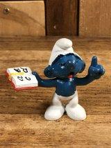"Schleich Smurf ""Teacher"" PVC Figure スマーフ ビンテージ PVCフィギュア 80年代"