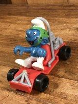 "Schleich Super Smurf ""Go Kart"" PVC Figure スーパースマーフ ビンテージ PVCフィギュア 80年代"