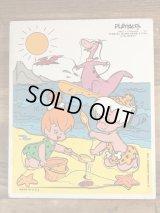 "Playskool ""Pebbles,Bamm-Bamm & Dino at the Beach"" Wood Puzzle フリントストーン ビンテージ ウッドパズル 80年代"