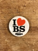 I Love BS The Bike Slider Pinback メッセージ ビンテージ 缶バッジ 缶バッチ 80年代
