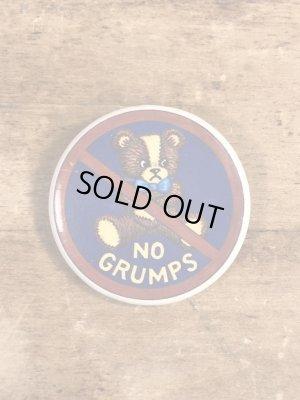 80年代頃のNo Grumpsのメッセージが書かれたヴィンテージの缶バッチ