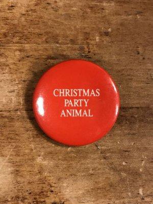 80年代頃のChristmas Party Animalのメッセージが書かれたビンテージの缶バッジ