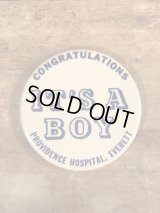 Congratulations It's A Boy Pinback 出産 ビンテージ 缶バッジ 缶バッチ 70年代